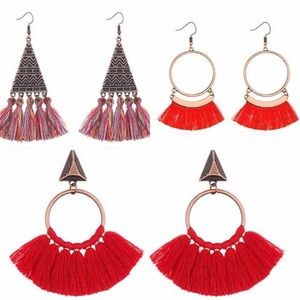 Red Boho Statement Earrings Bundle (3)